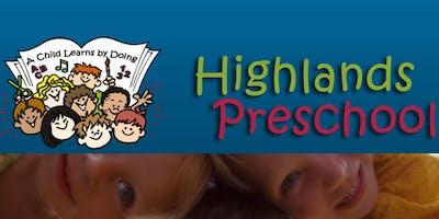 Highlands Preschool Registration, 2019-2020