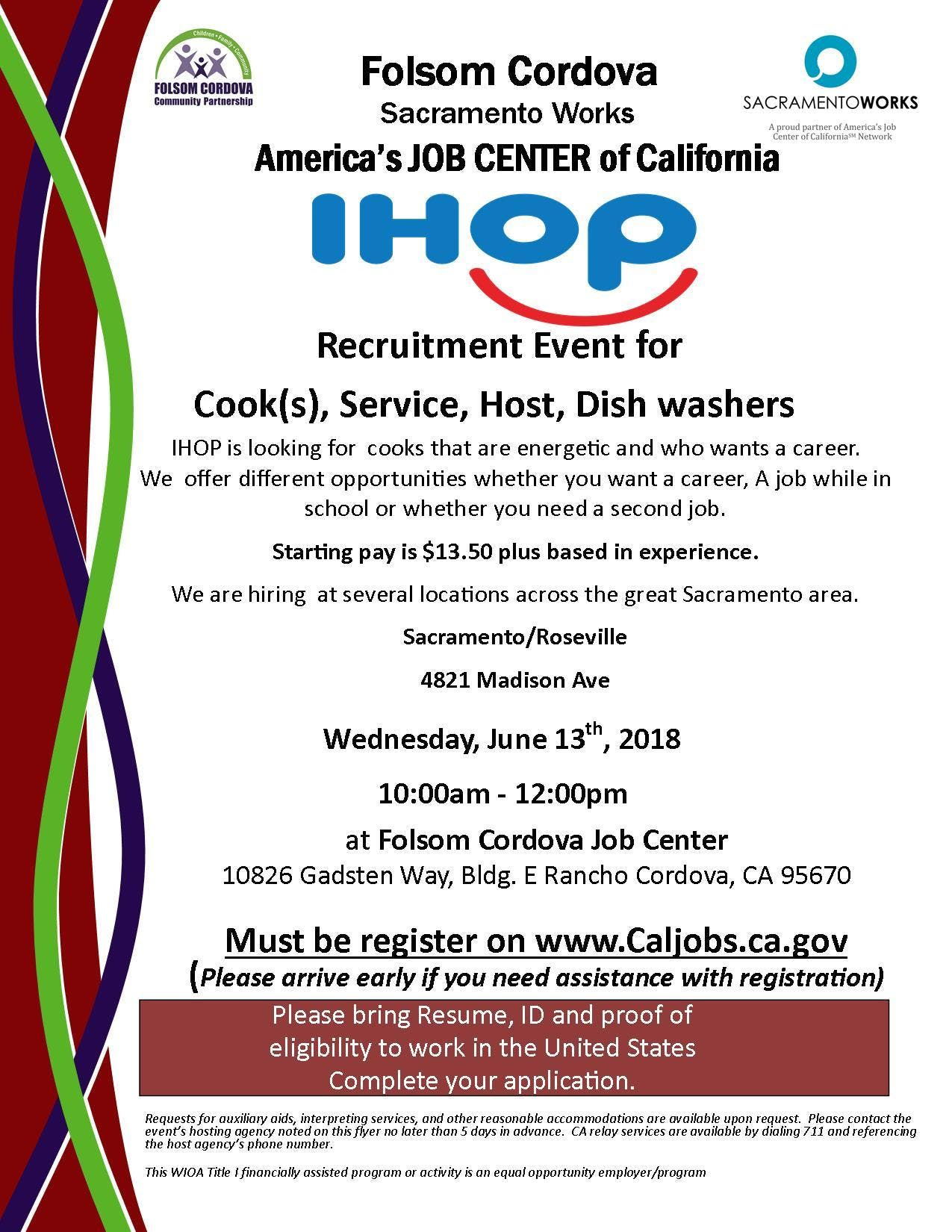 IHOP Job Recruitment - 13 JUN 2018