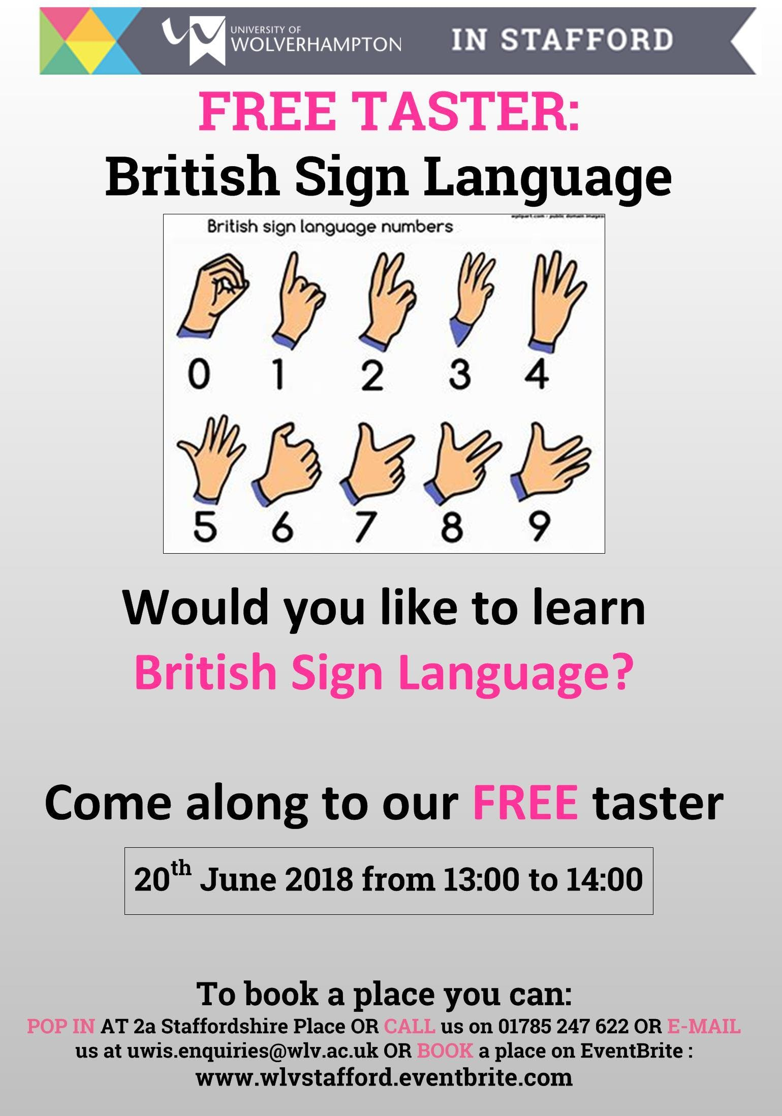 FREE DAYTIME TASTER - Learn British Sign Language