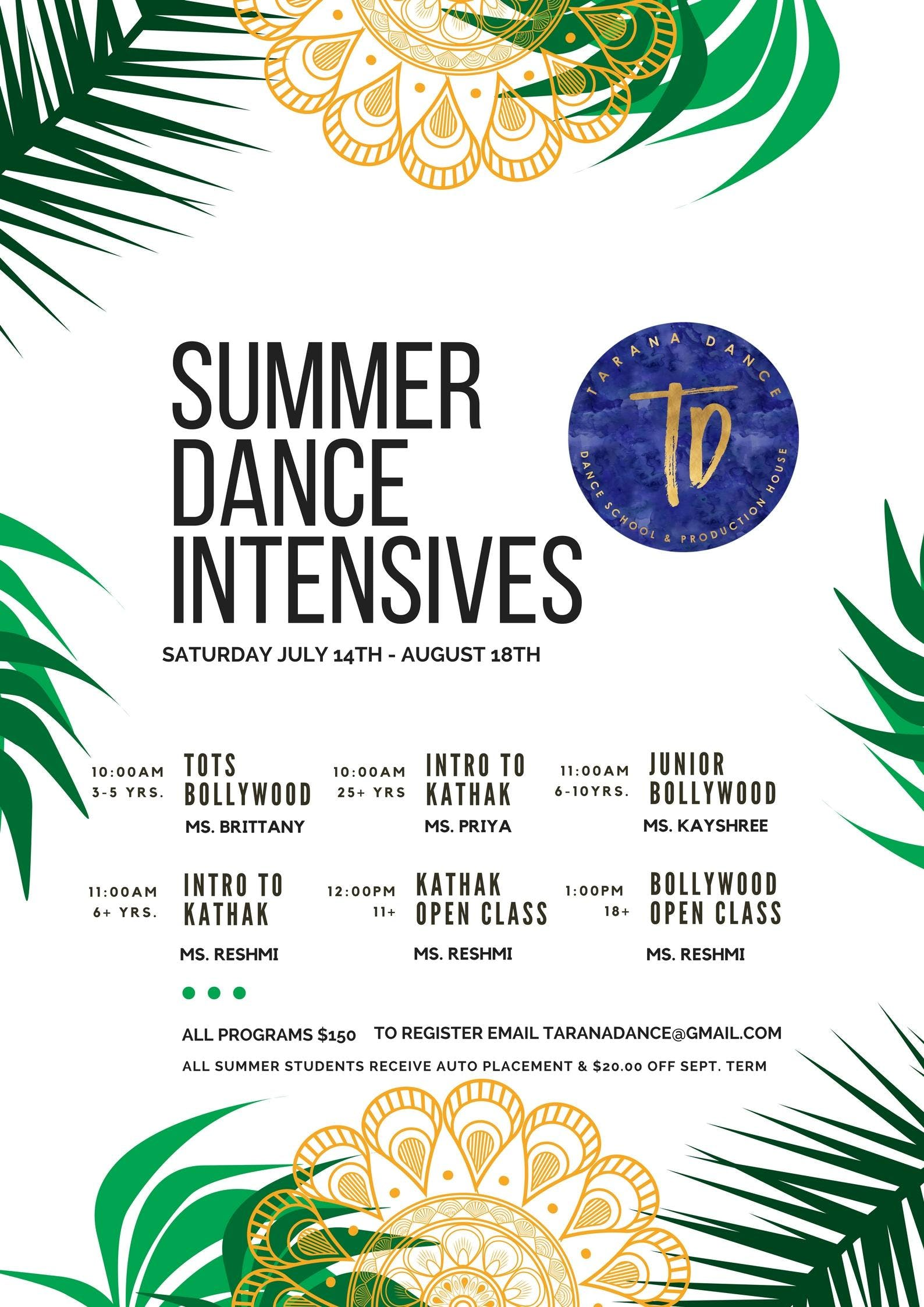 Tarana Dance: Summer Intensive Programs
