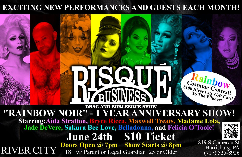 risque business 1 year anniv drag burlesque show at rcb rainbow noir