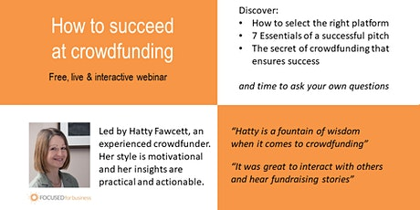How to succeed at crowdfunding - free webinar tickets