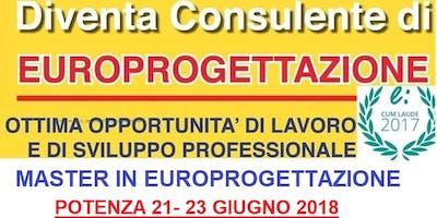 POTENZA MASTER EUROPROGETTAZIONE + LABORATORIO GRATUITO - 21 GIUGNO 2018
