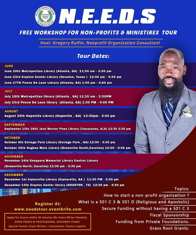 N.E.E.D.S TOUR  FREE WORKSHOPS FOR NON-PROFIT & MINISTRIES