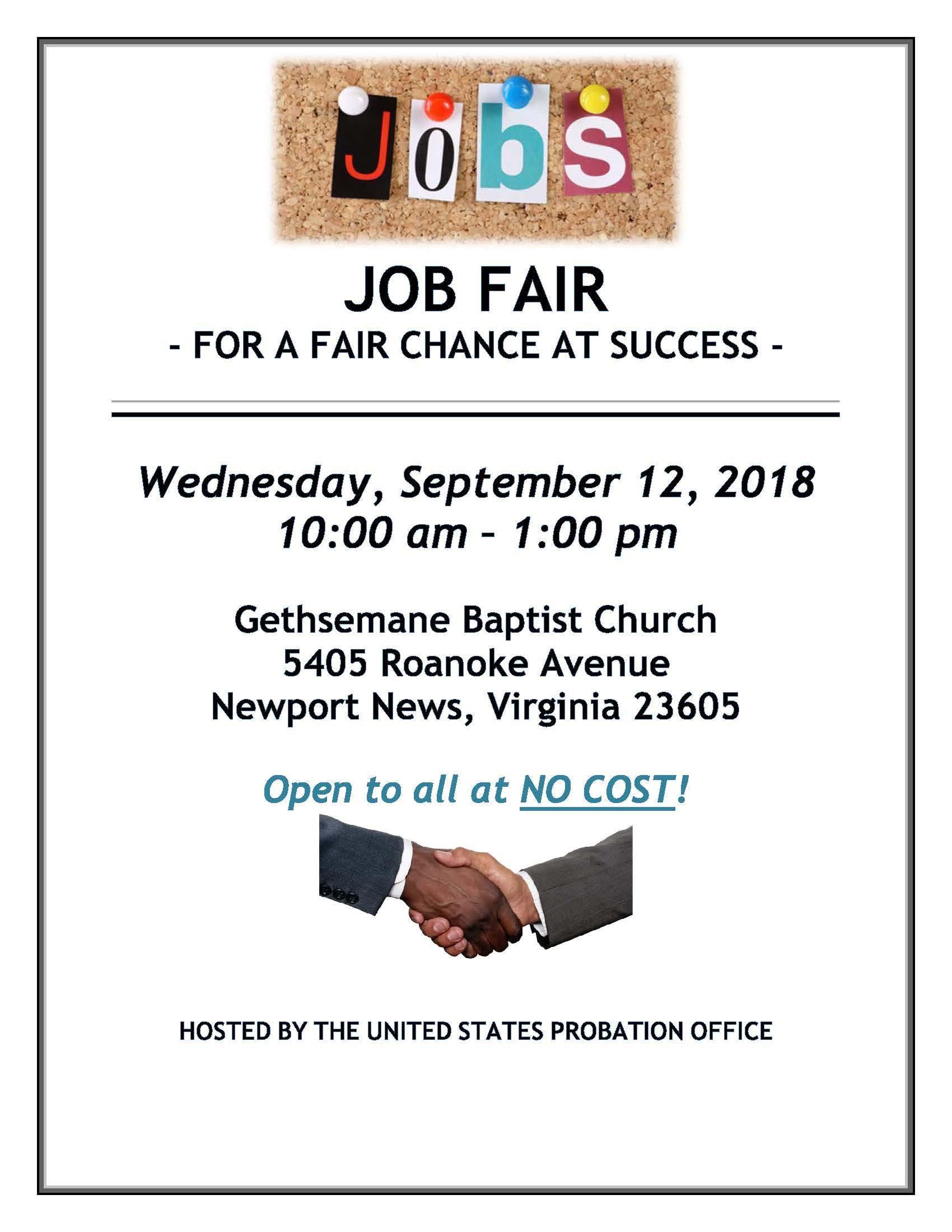 Job Fair for a Fair Chance at Success (Vendor Registration