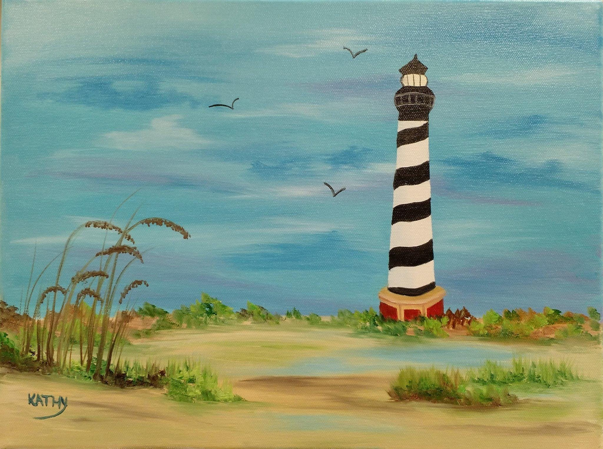 Bob Ross Oil Painting Class Cape Hatteras Lighthouse 20 Jul 2018