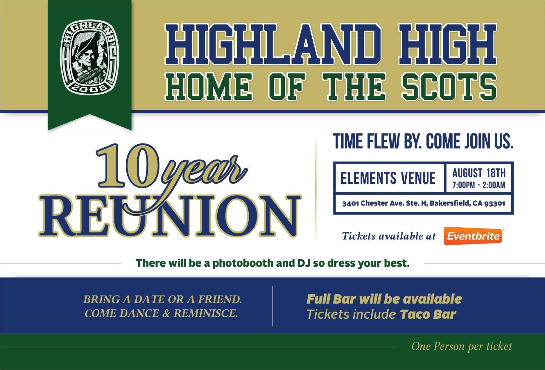 Highland High School 10 Year Reunion 18 Aug 2018