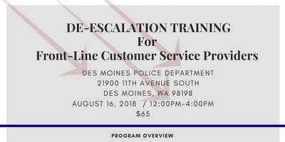 De-Escalation Training: For Frontline Service Provider (Des Moines PD Communtiy Room)