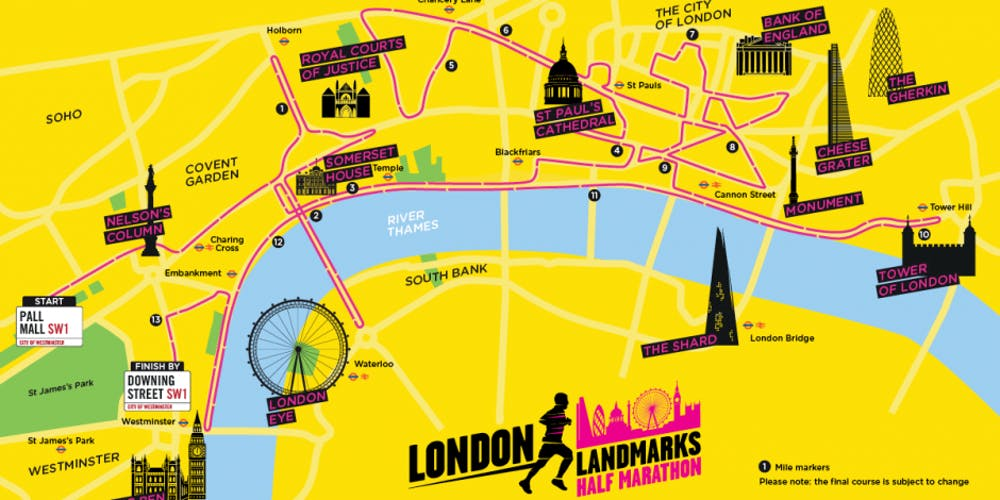 Kings College London Map.London Landmarks Half Marathon 2019 King S College Hospital