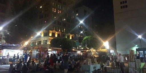 洛杉矶市中心艺术步行夜市-食品卡车和艺术家