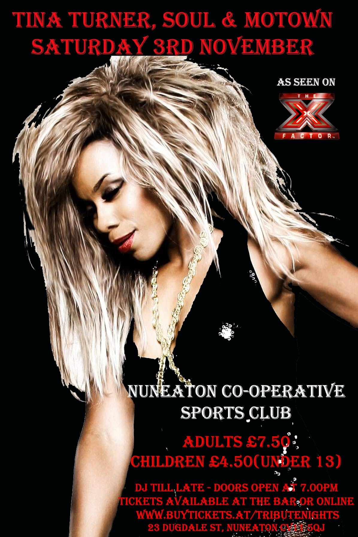 Tina Turner, Soul & Motown Night - Nuneaton
