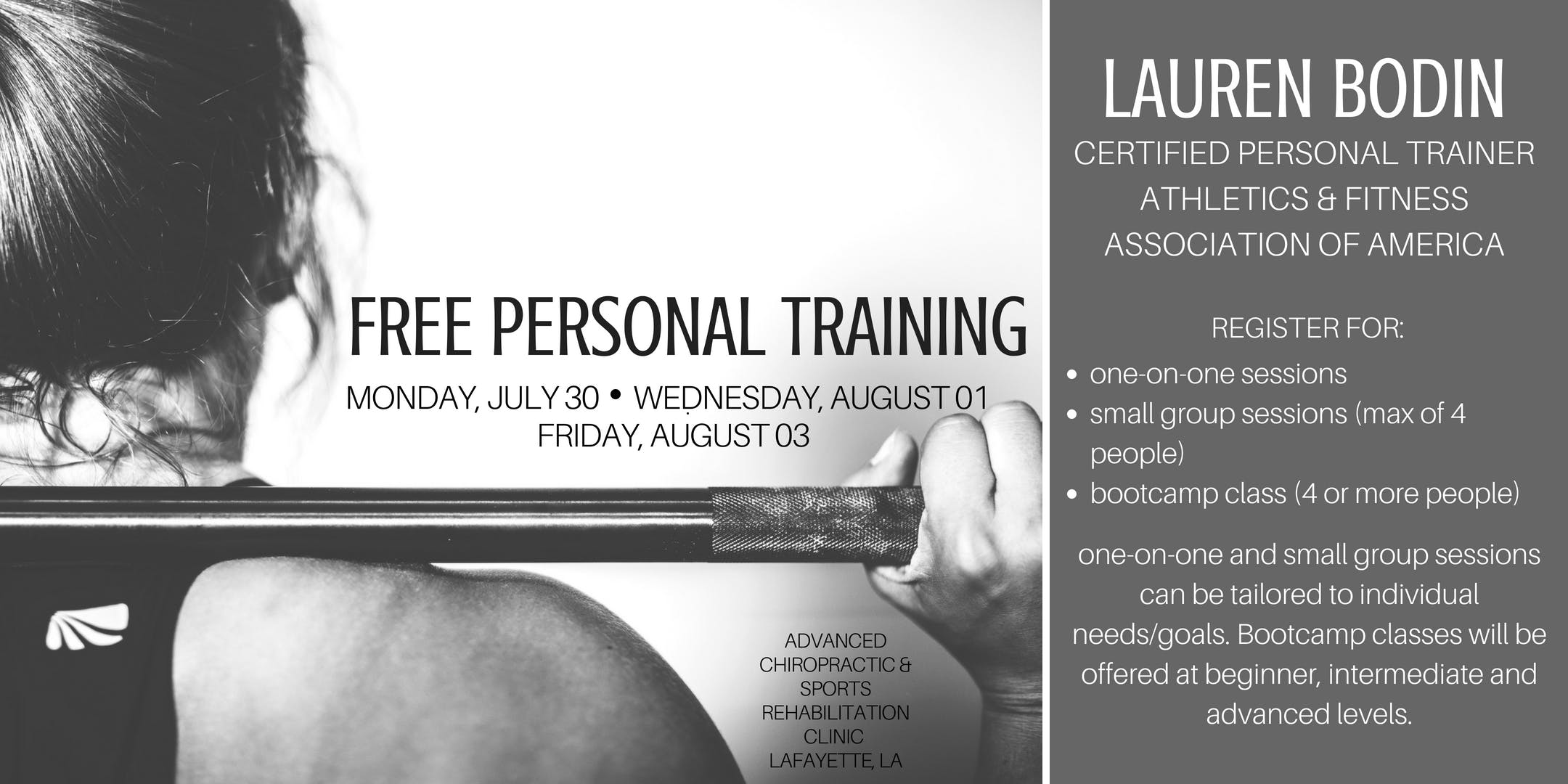 free personal training sessions with lauren bodin 30 jul 2018