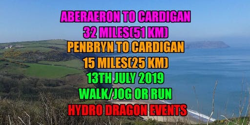 Aberaeron to Cardigan 32 Mile. Penbryn to Cardigan 15 mile. Walk/Jog or Run Challenge Event