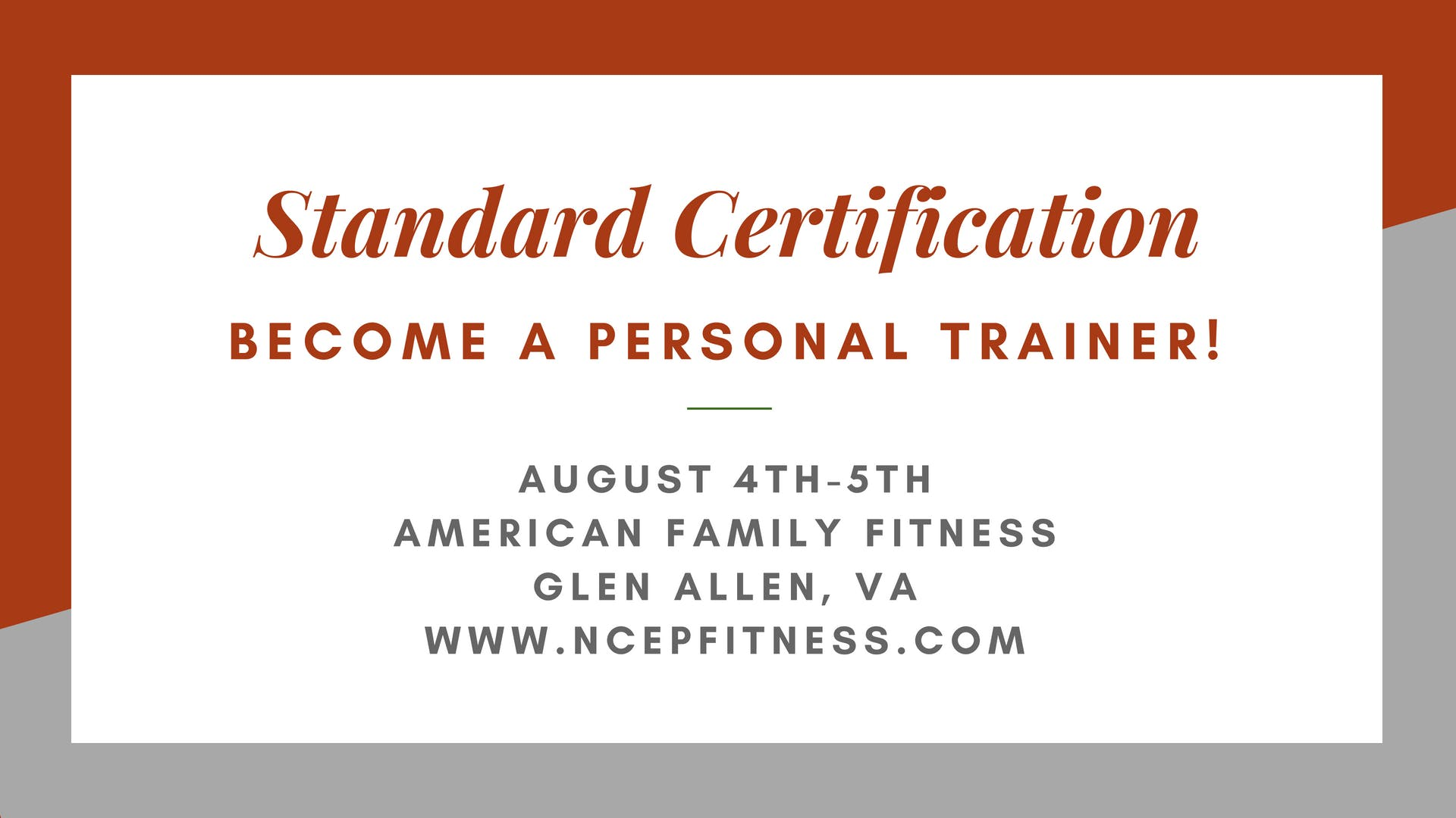 Personal Training Certification Workshop 4 Aug 2018