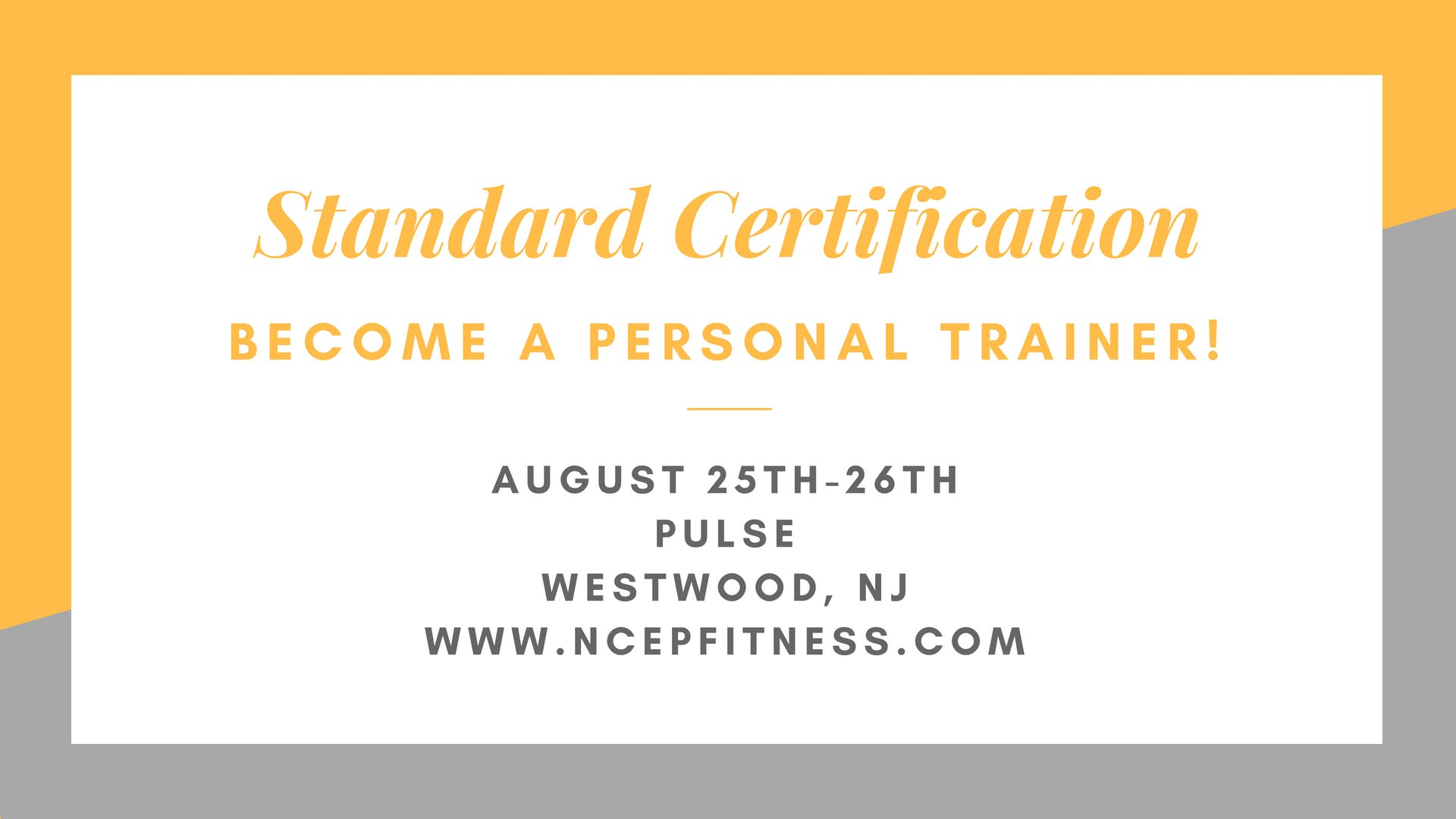Personal Training Certification Workshop 25 Aug 2018