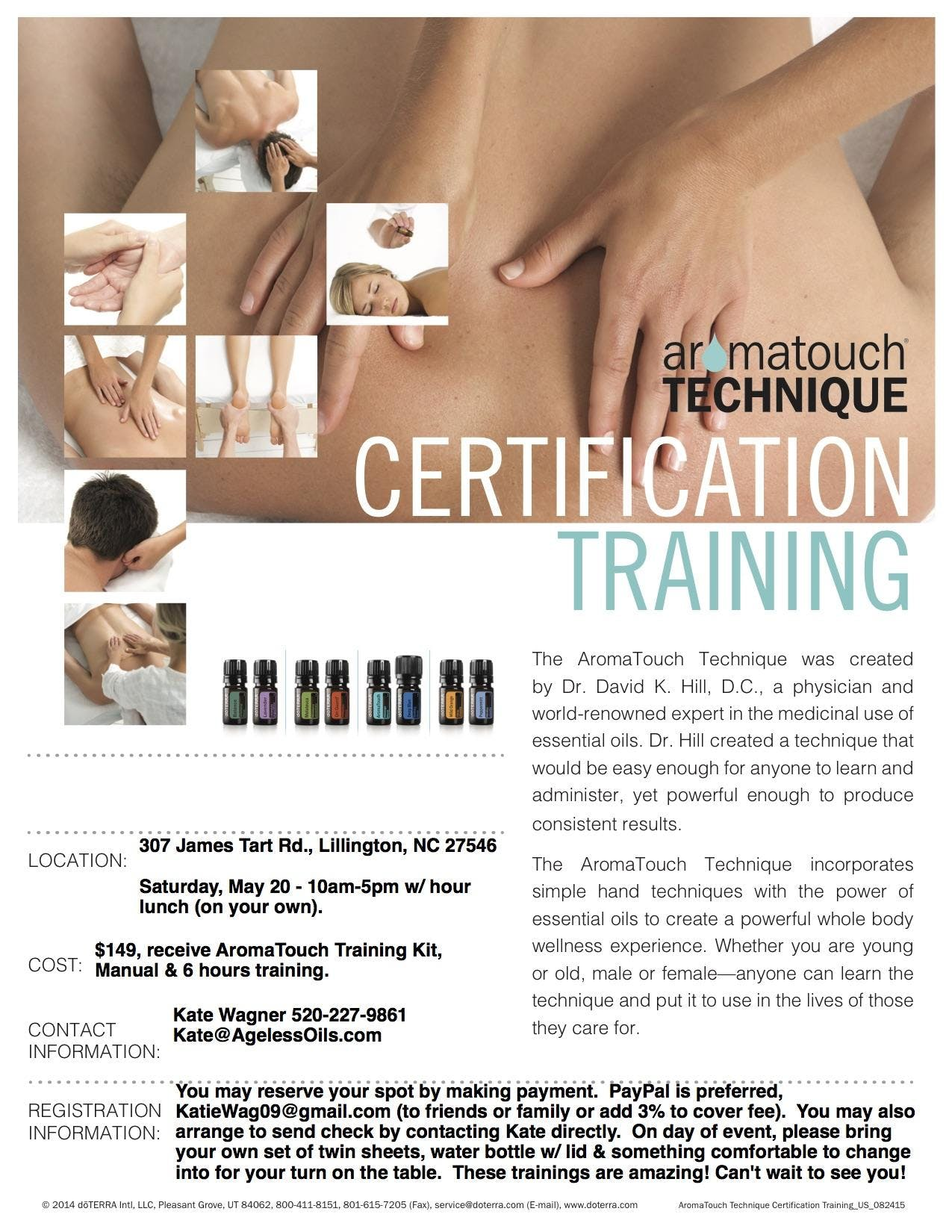 AromaTouch Training with Kate Wagner Aug. 18t
