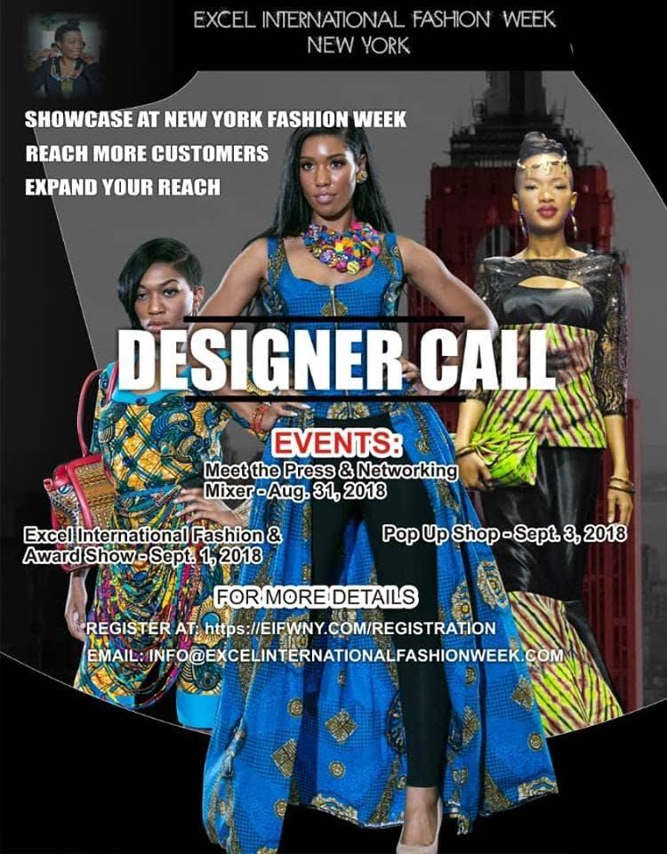 Local Designer Registration For Excel International Fashion Week New York 30 Aug 2018