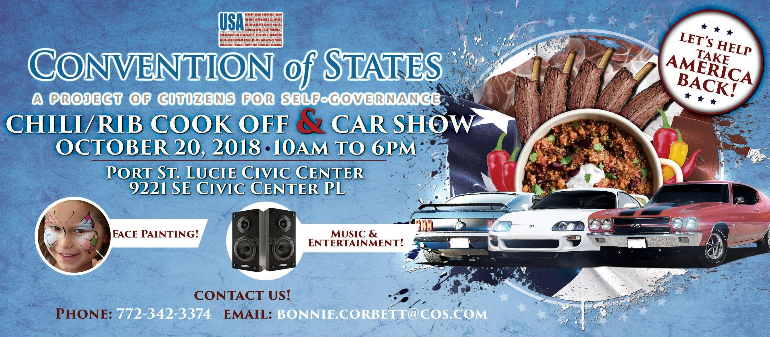 Convention Of States ChiliRib Cook Off Car Show OCT - Civic center car show
