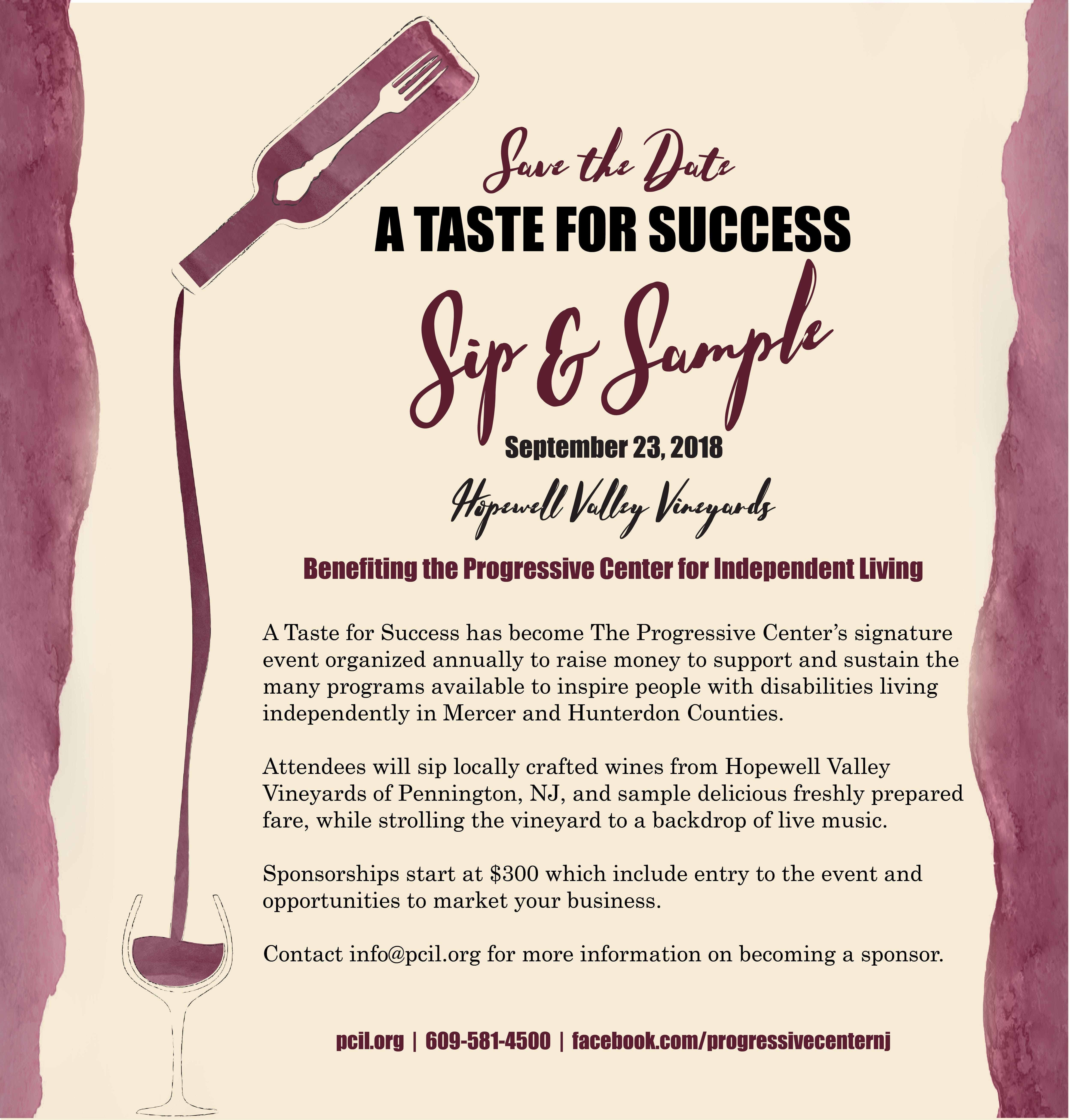 A Taste for Success - Sip and Sample