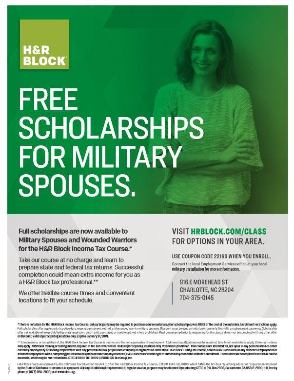 H R Block Income Tax Course Free To Military Spouses 6 Aug 2018