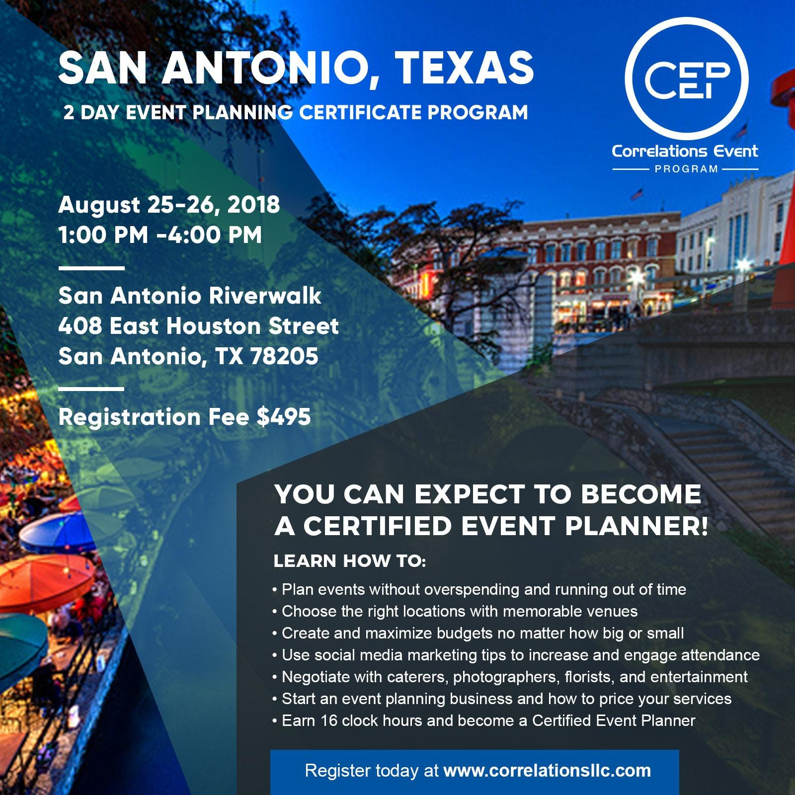 2 Day San Antonio Event Planning Certificate Program August 25 26