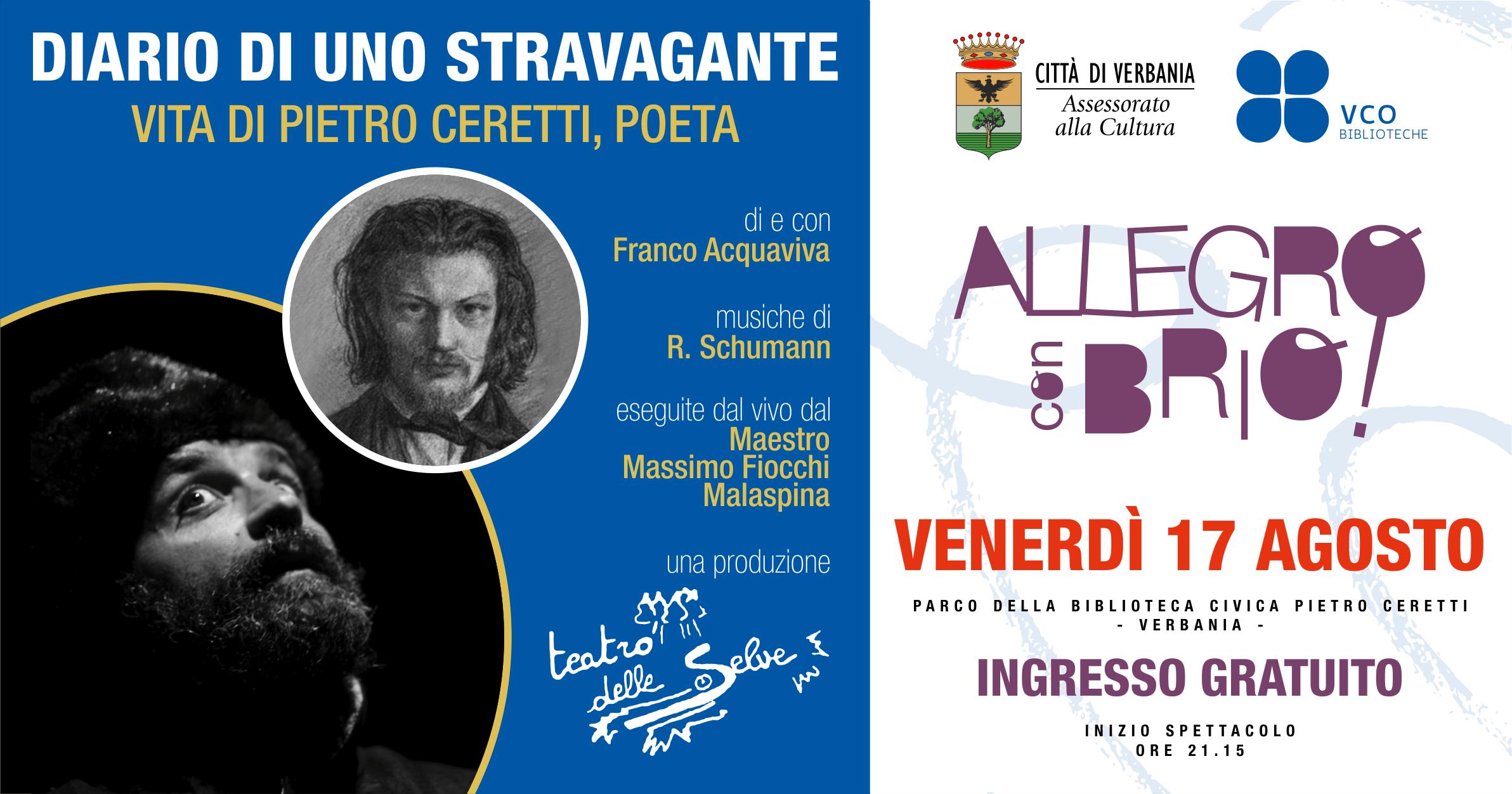 DIARIO DI UNO STRAVAGANTE - Vita di Pietro Ceretti #AllegroConBrio2018 @Verbania
