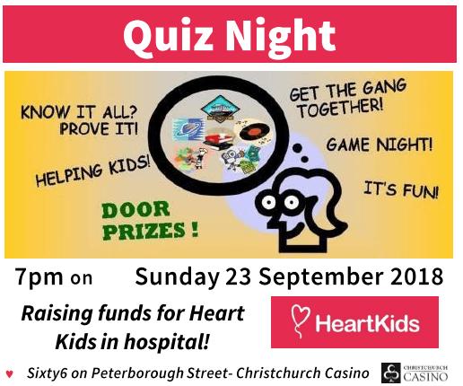 Quiz Night for Heart Kids Canterbury - 23 SEP 2018