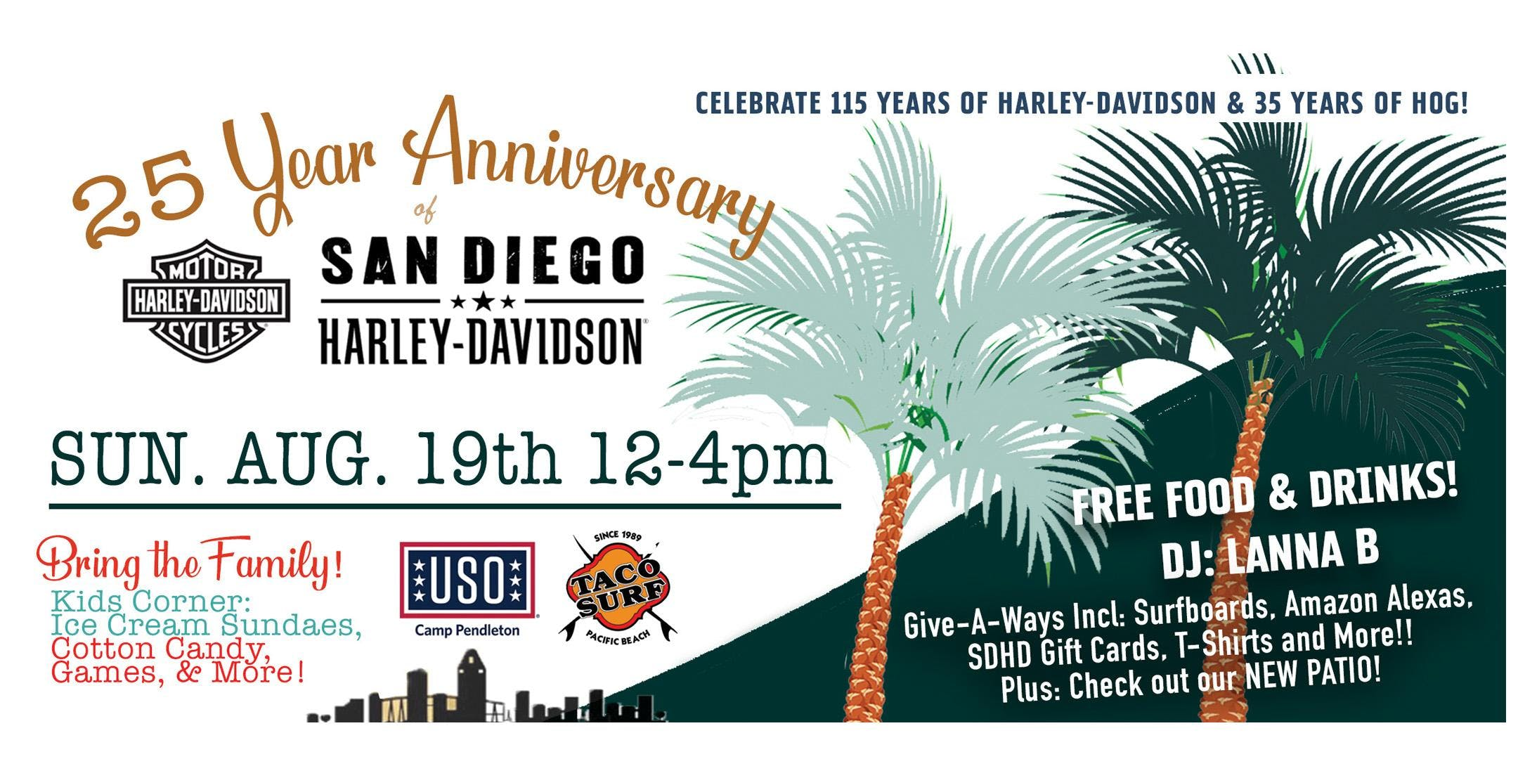 san diego harley davidson 25 year anniversary party