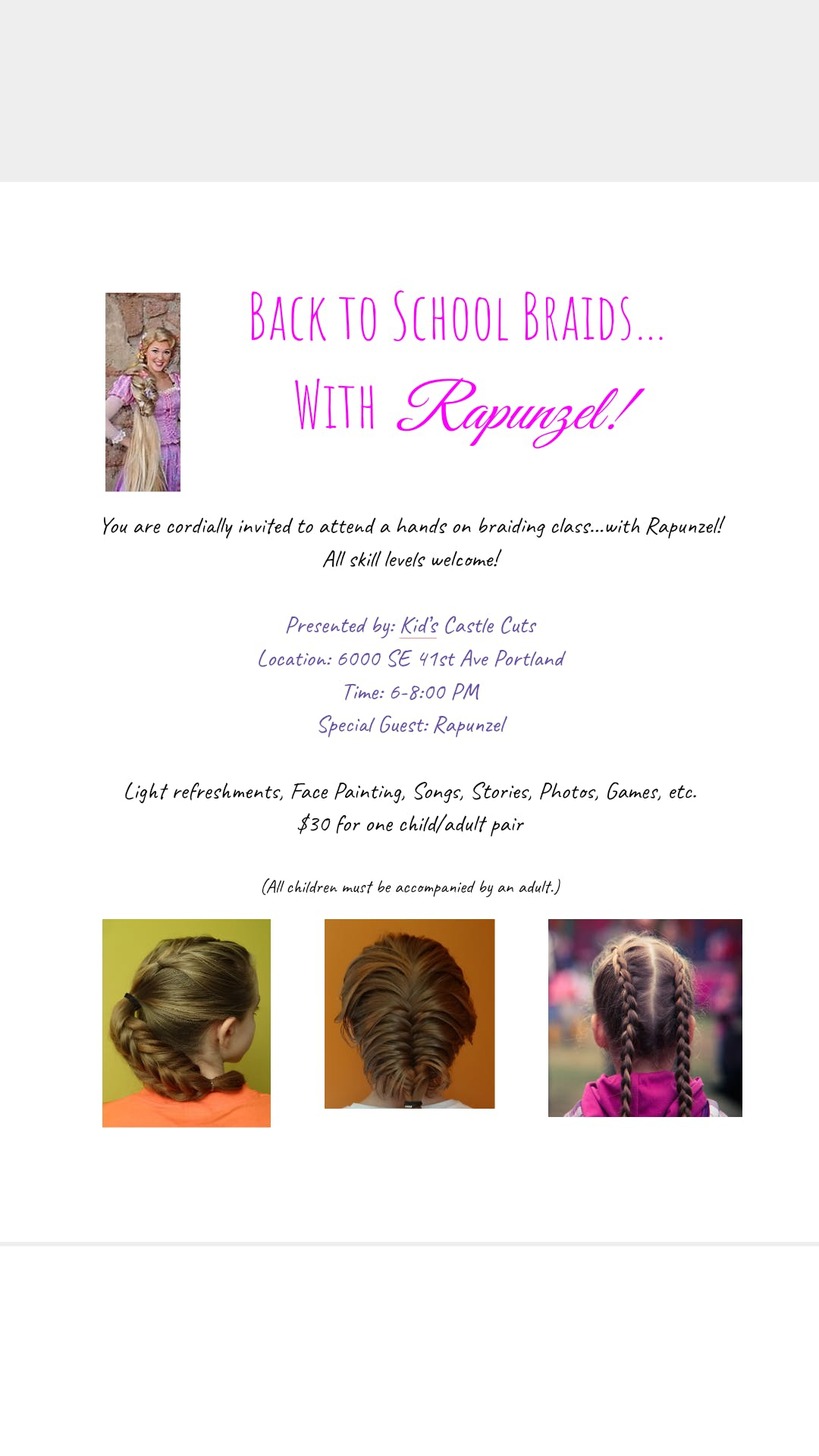 Back to School Braids with Rapunzel