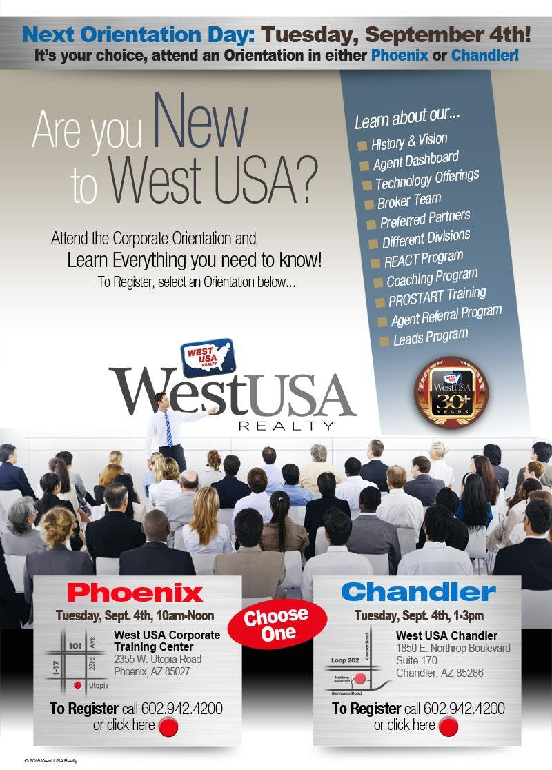 West USA Realty Chandler Orientation - September