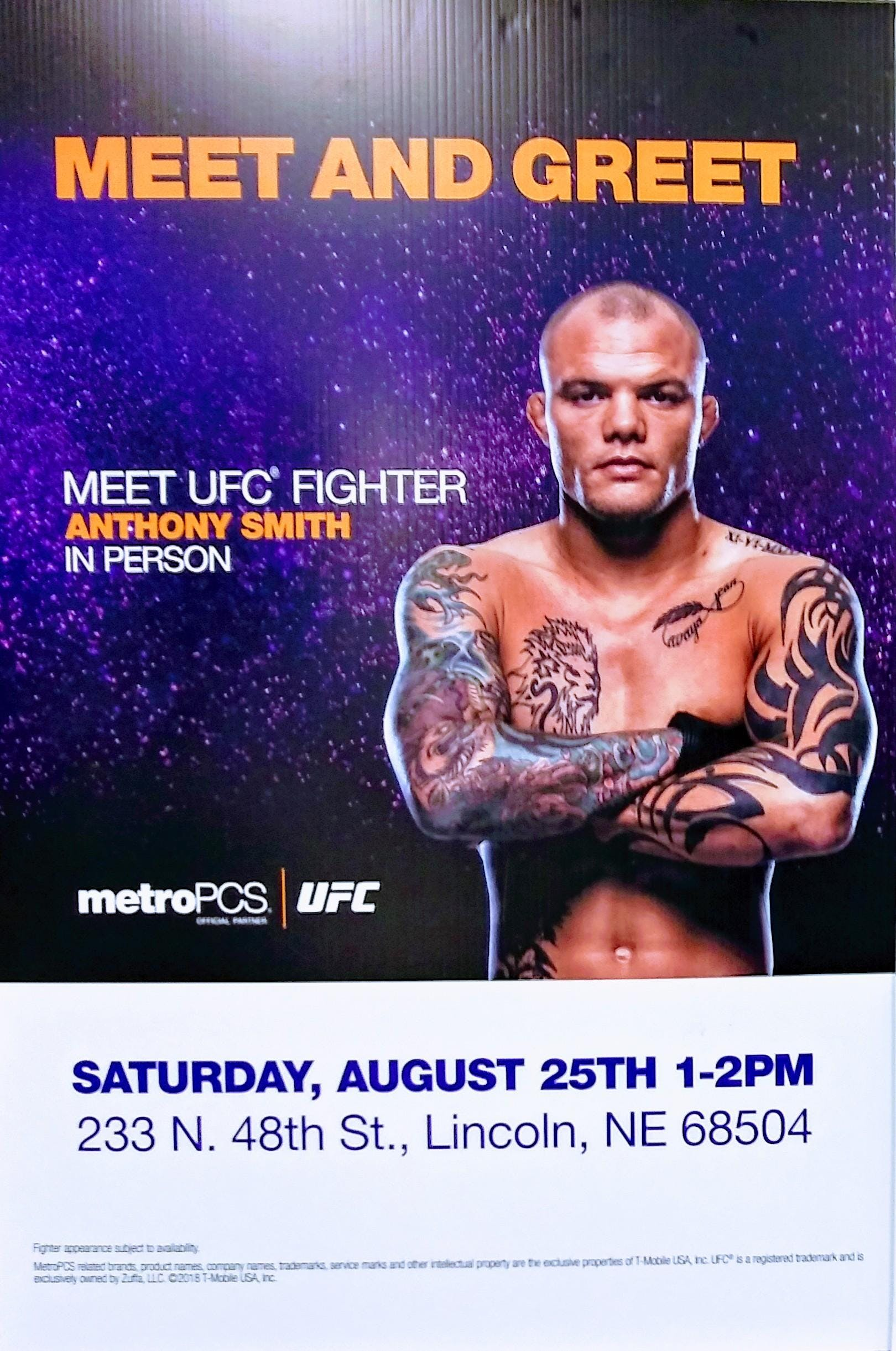 Meet And Great With Ufc Fighter Anthony Smith 25 Aug 2018