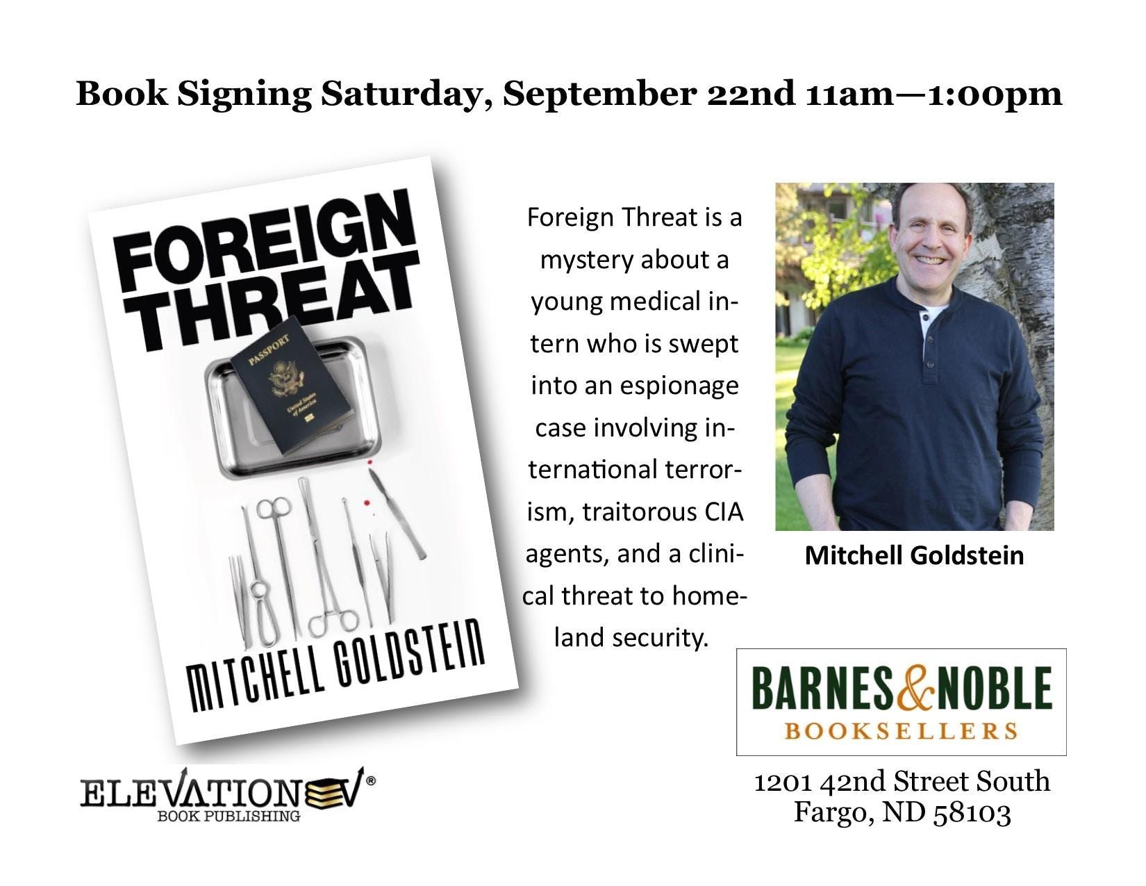 Foreign Threat Book Signing Barnes & Noble, Fargo, ND on September 22nd!