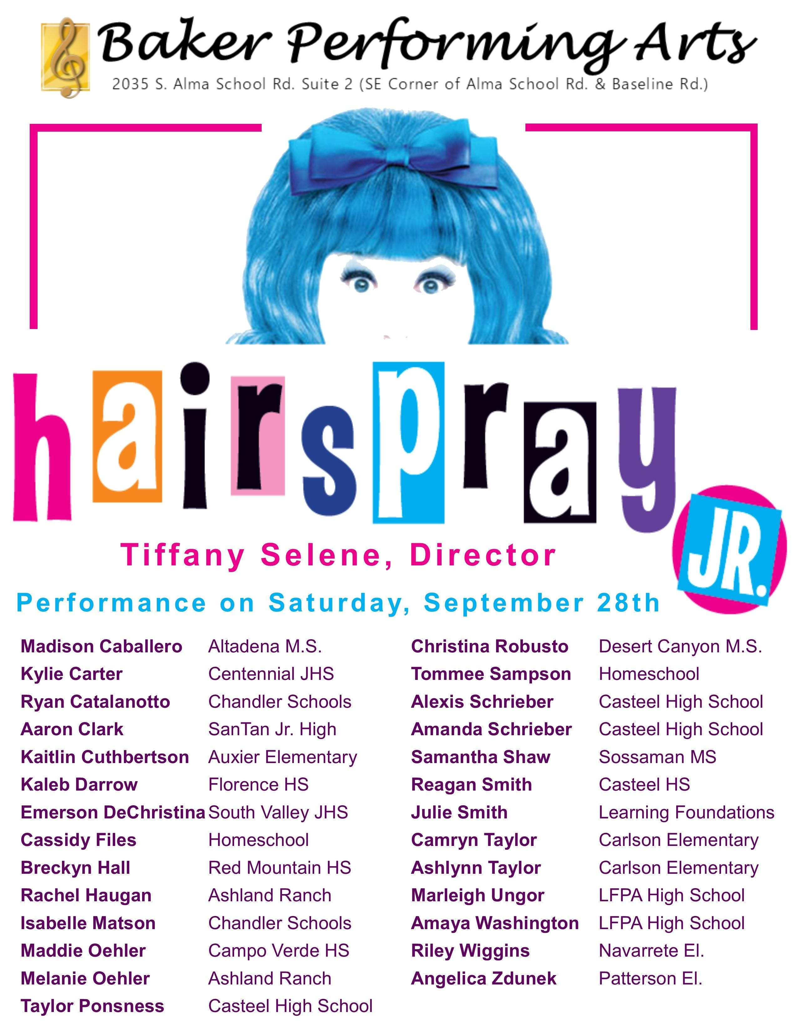 Hairspray JR Tickets Saturday, September 29th at 7:00pm