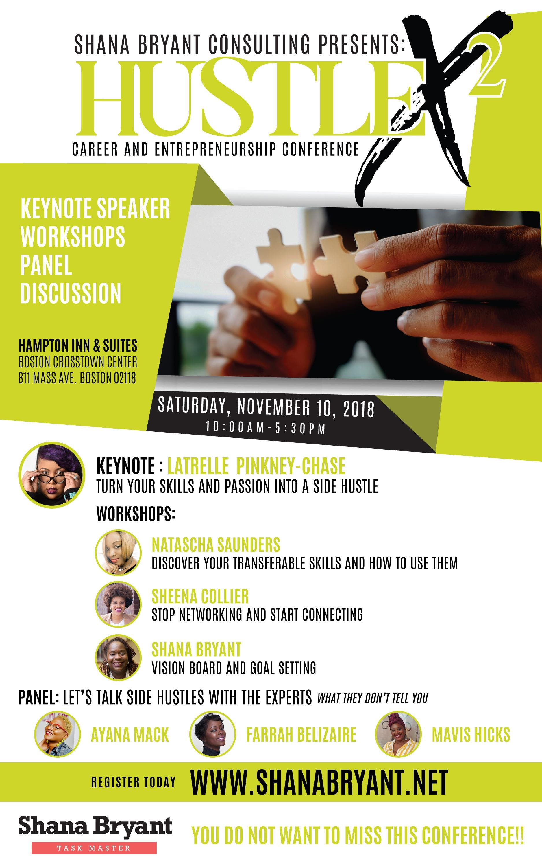 Conference In Boston Wednesday November >> Hustlex2 Career And Entrepreneurship Conference 10 Nov 2018