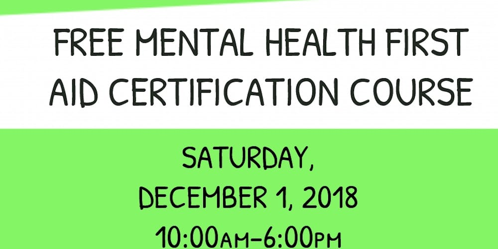 Free Mental Health First Aid Certification Course Tickets Sat Dec