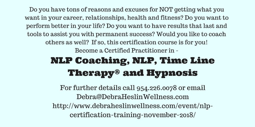 Nlp Training Certification Course Registration Mon Nov 5 2018 At