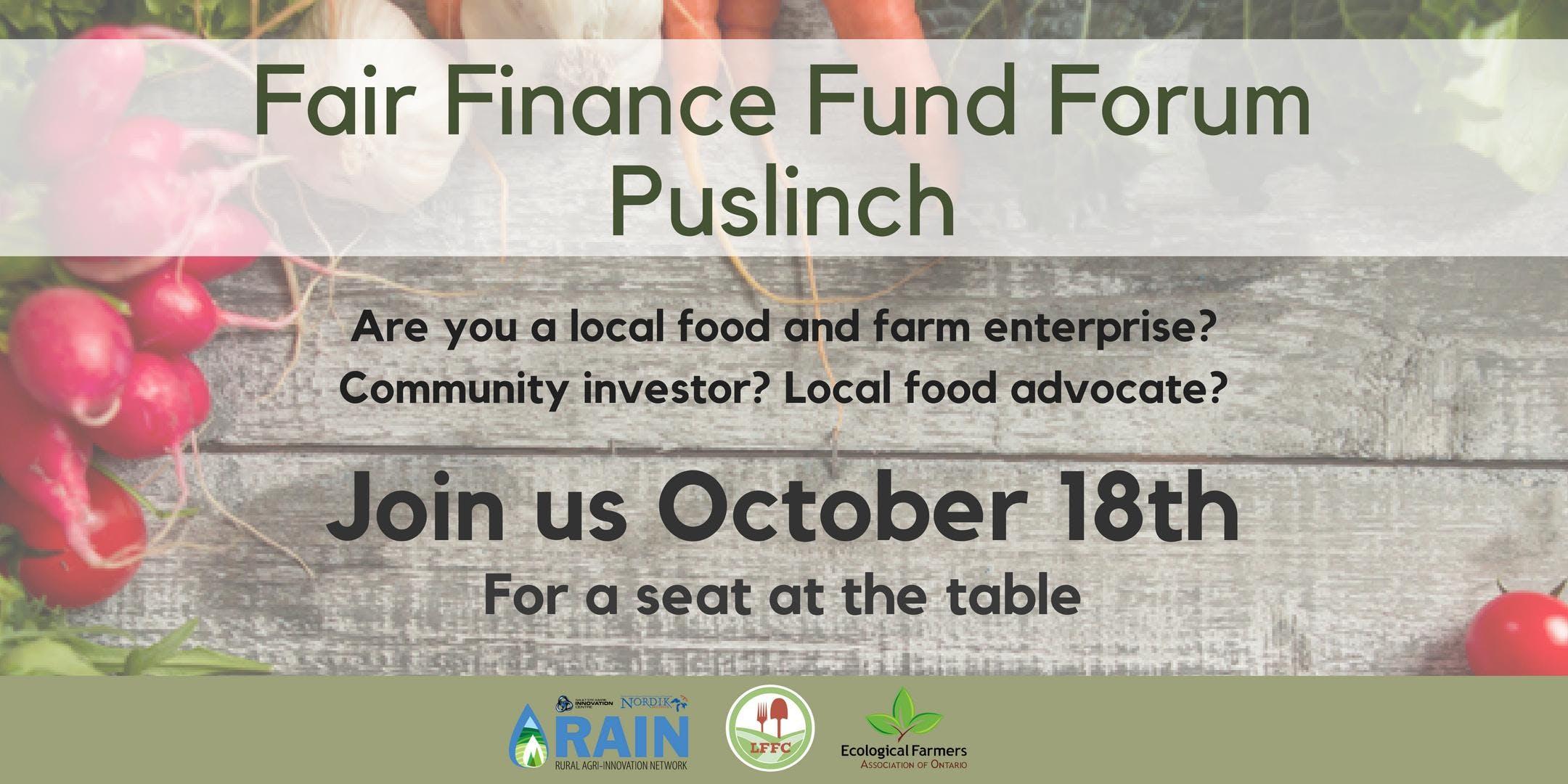 Fair Finance Fund Forum: Puslinch