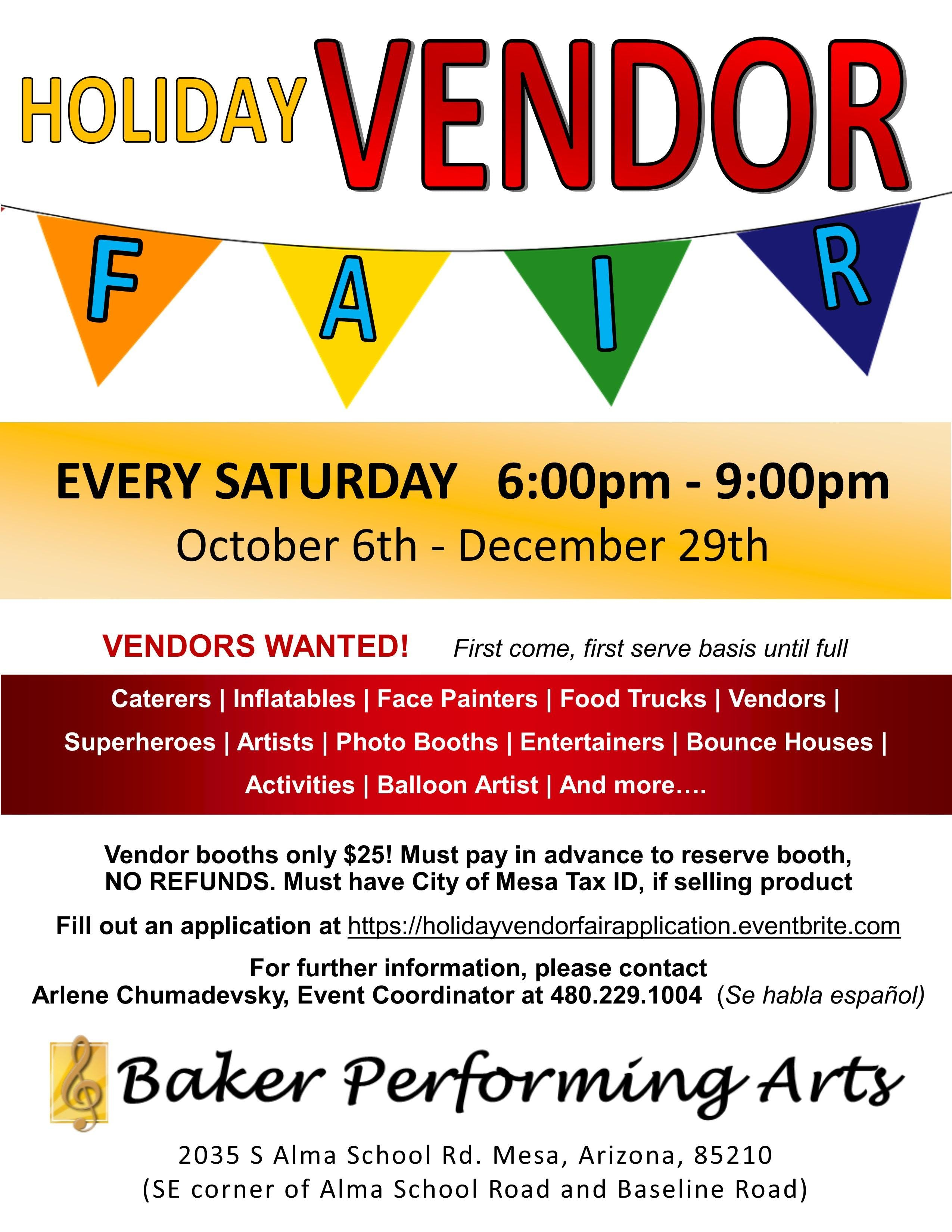 Holiday Vendor Fair Application