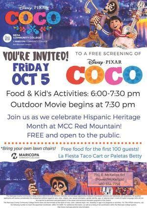 MCC Red Mountain Free Movie: Disney-Pixar: COCO