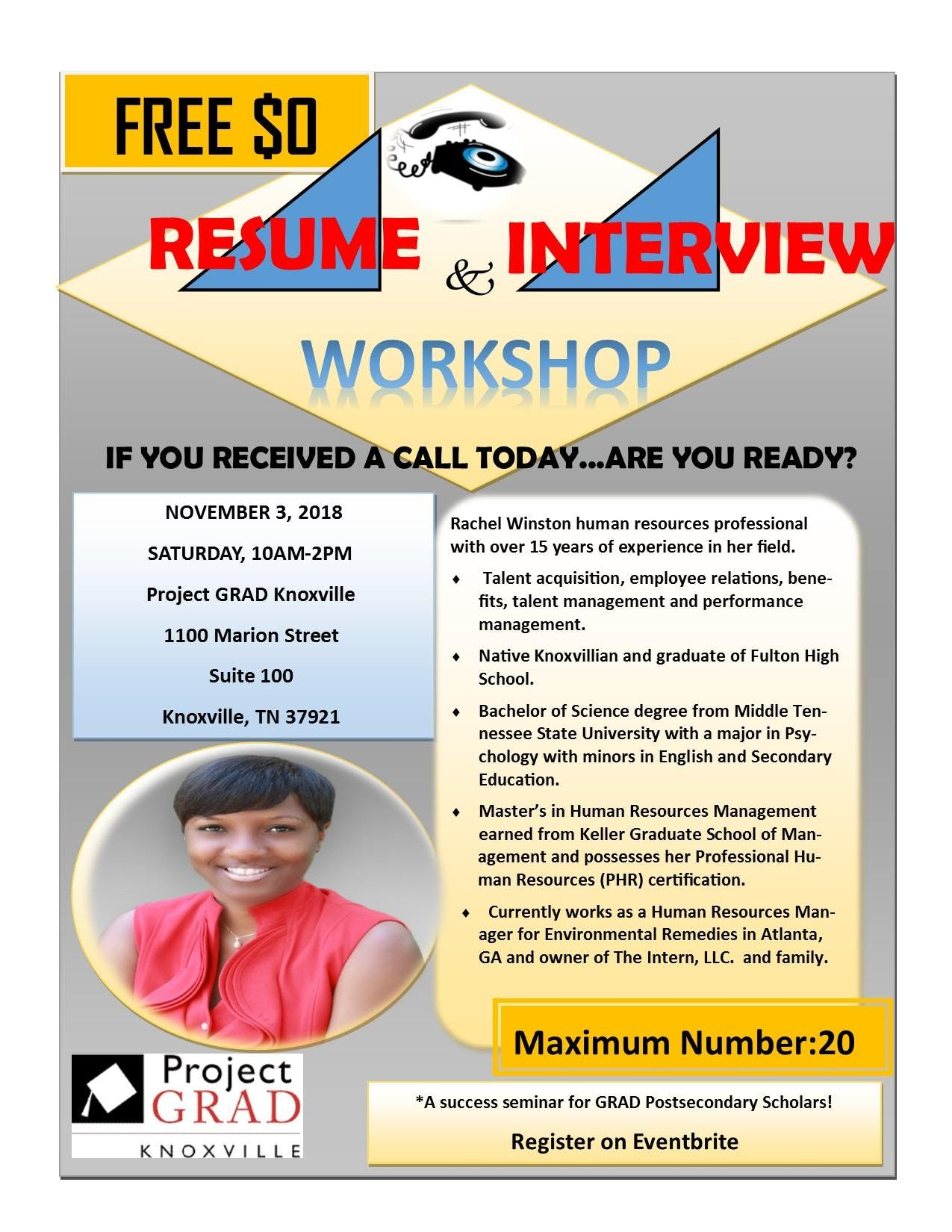 Project Grad Knoxville Resume Interview Workshop 3 Nov 2018