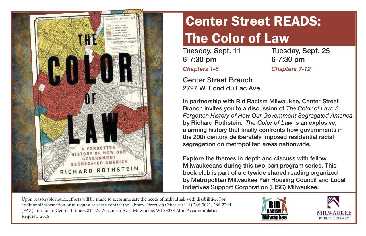 Center St Library And Rid Racism Mke Book Club The Color Of Law