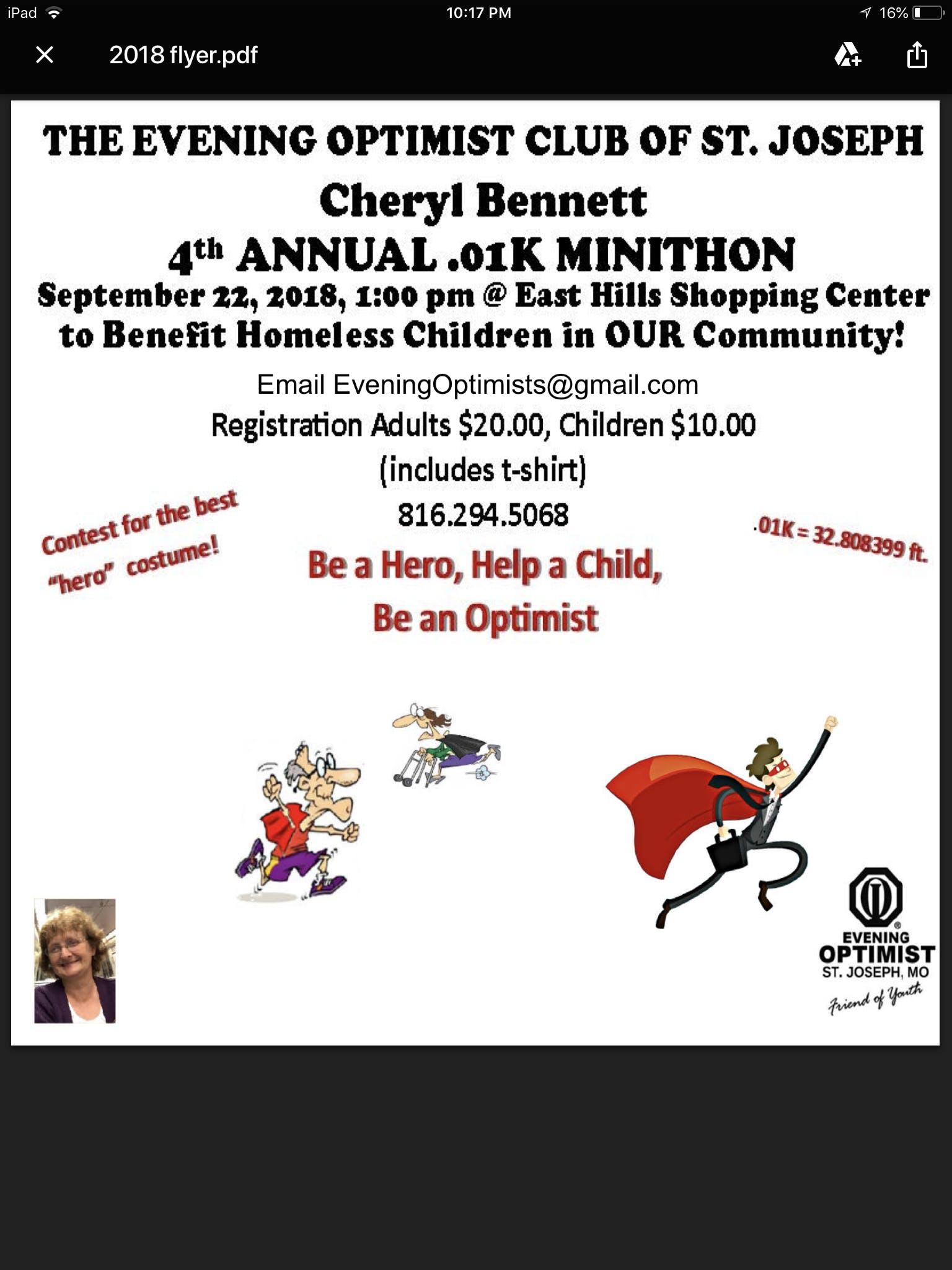 The 4th Annual Cheryl Bennett .01k Minithon!