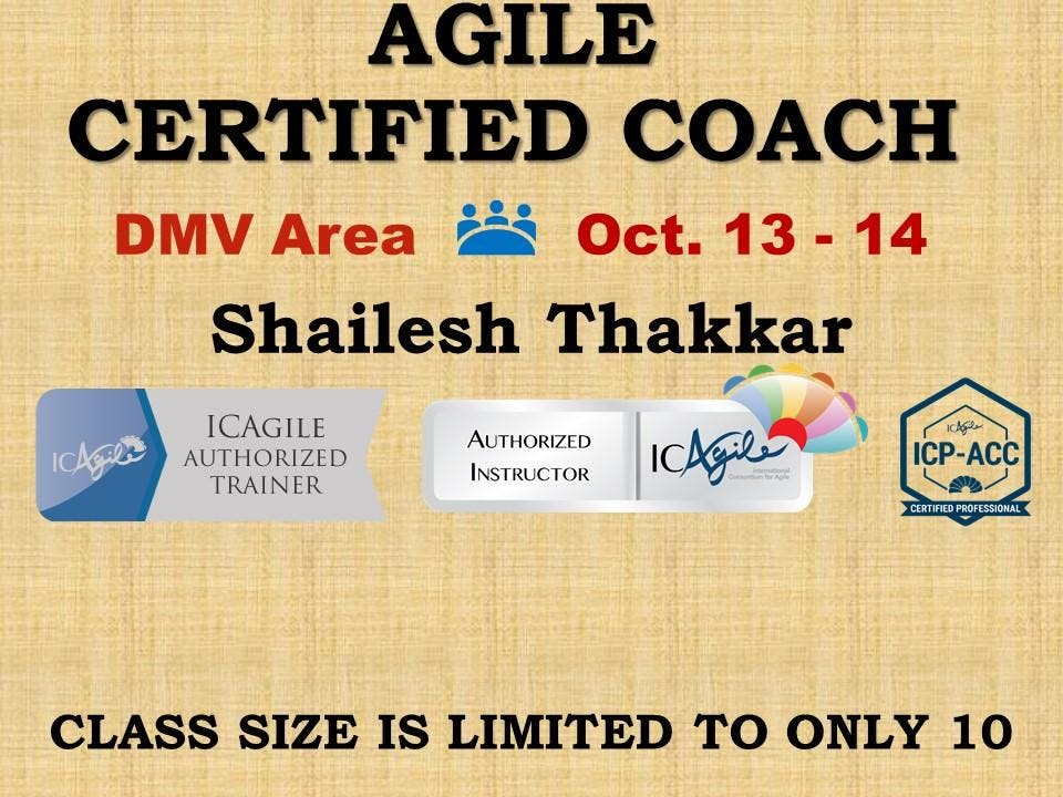 Agile Certified Coach Icp Acc Workshop 13 Oct 2018