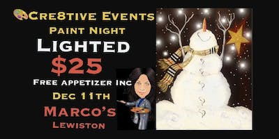 $25 Paint Night Lighted & FREE APPETIZER