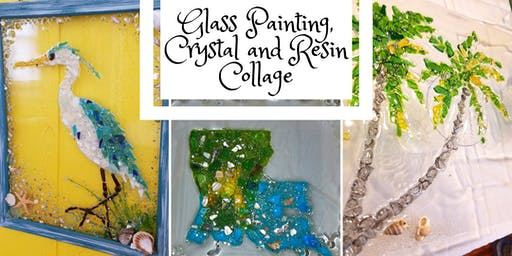 Glass Painting, Crystal and Resin Collage