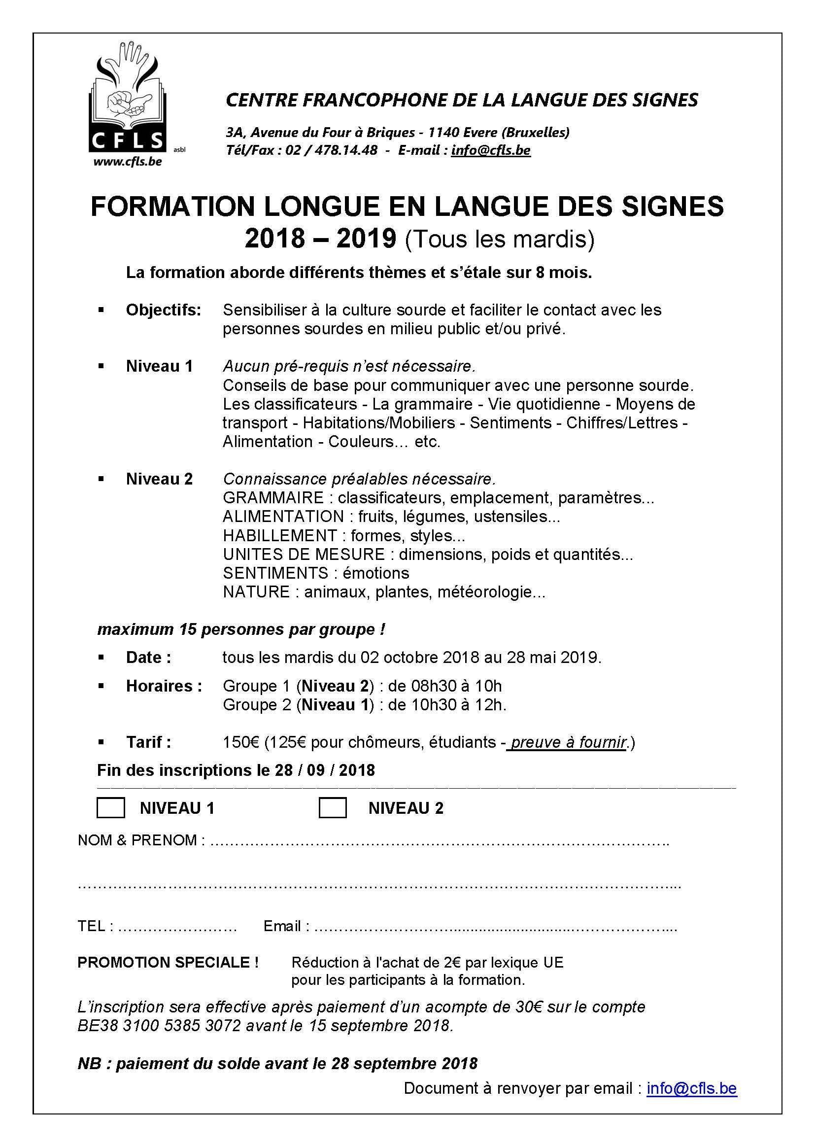 Formation longue en Langue des Signes 2018-2019