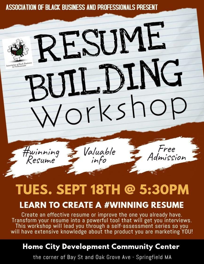 Resume Building Workshop 18 Sep 2018
