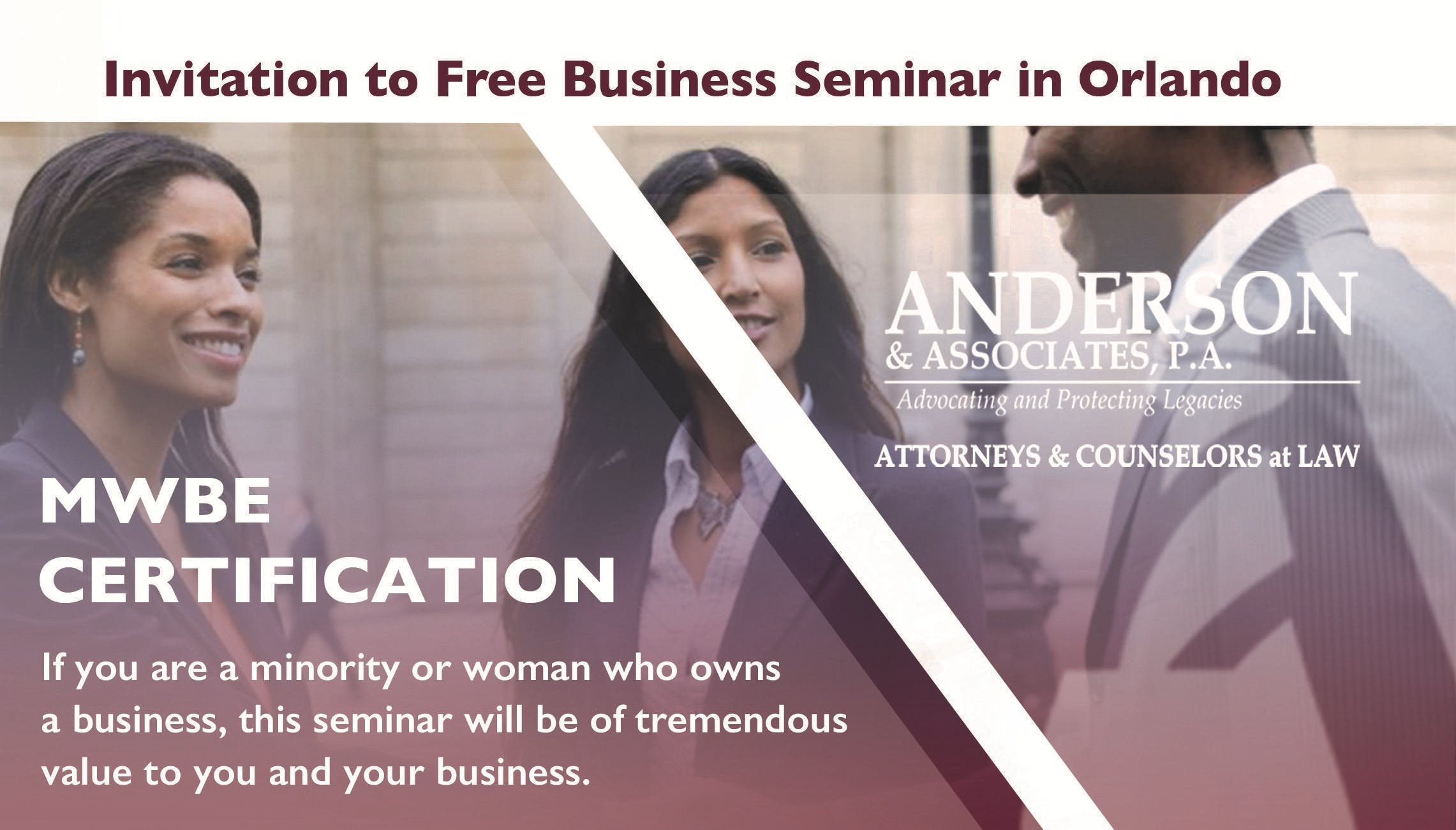 Free Seminar Mwbe Certification By Veronica Anderson Esq Of