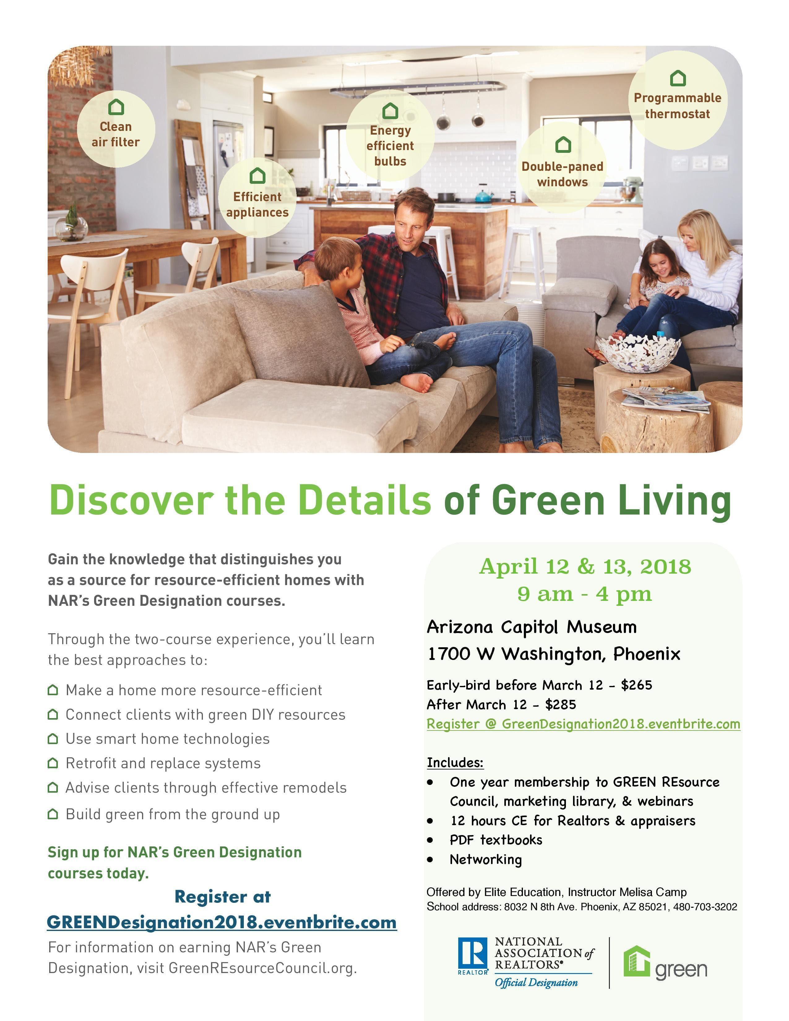 NAR's GREEN Designation Courses - 12 hours CE for Realtors and Appraisers 2018
