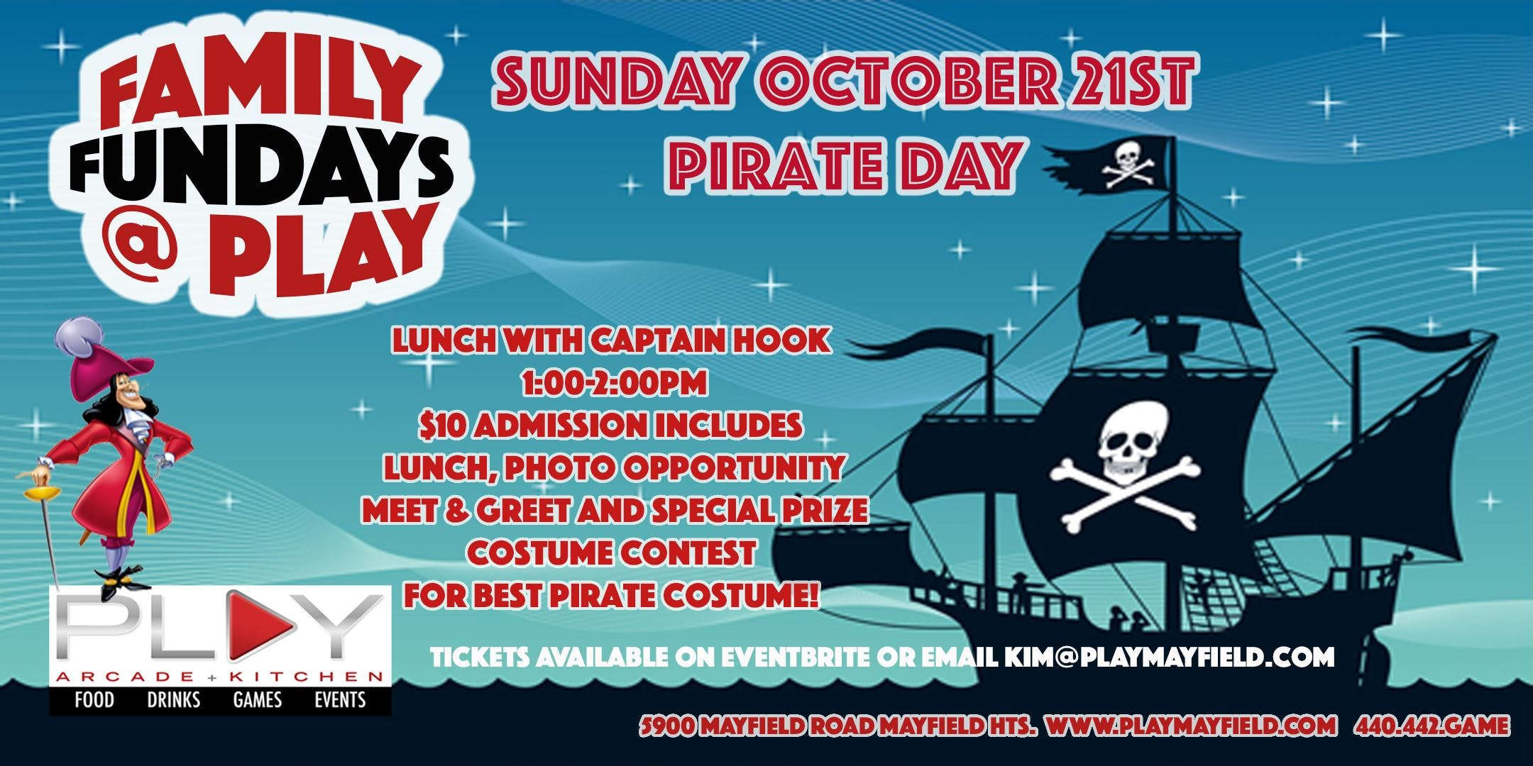 Family Fundays @ Play - Pirate Day - 21 OCT 2018